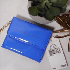 Adrienne Vittadini Blue Patent Coin Wallet